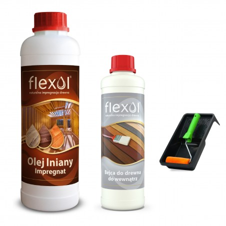ZESTAW  Olej lniany impregnat do drewna FLEXOL 1 L + bejca wewn.BIEL
