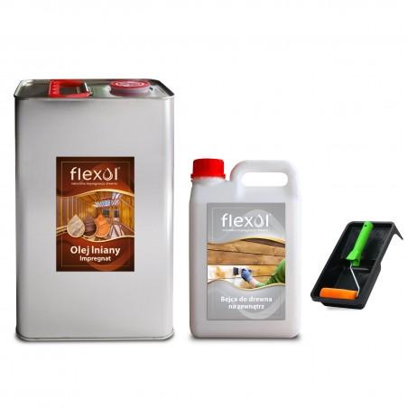 ZESTAW  Olej lniany impregnat do drewna FLEXOL 5 L + bejca zewn. 2 L