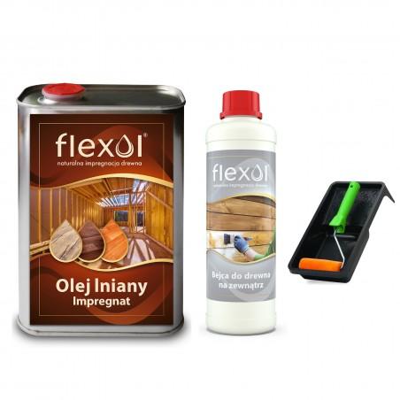 ZESTAW  Olej lniany impregnat do drewna FLEXOL 1 L + bejca zewn. 0,5L