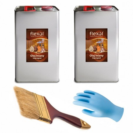 Olej lniany FLEXOL 2 x 5 L NATURALNY IMPREGNAT DO DREWNA